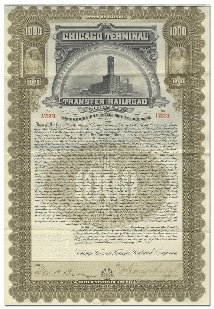 Chicago Terminal Transfer Railroad Company Bond Certificate