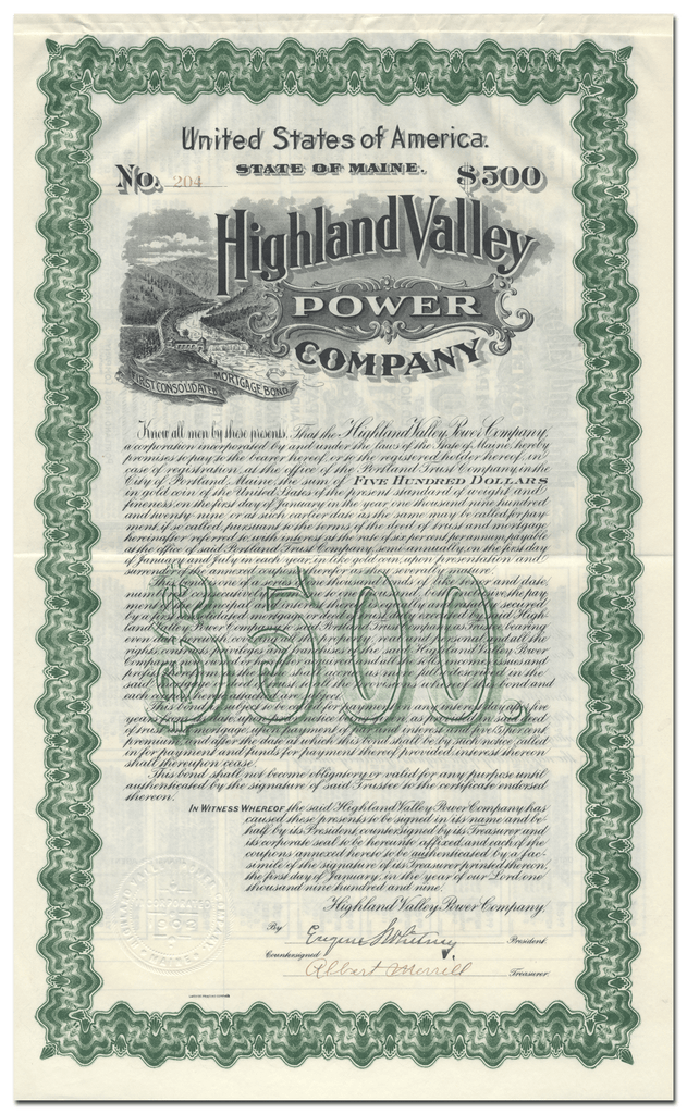 Highland Valley Power Company Bond Certificate