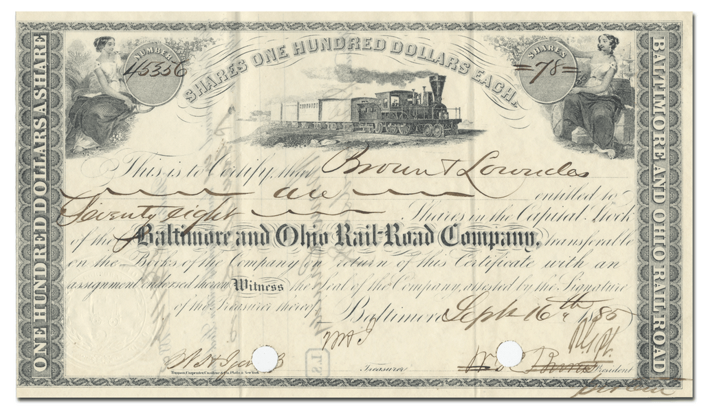 Baltimore and Ohio Rail-Road Company Stock Certificate