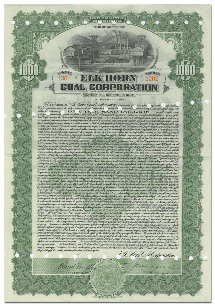 Elk Horn Coal Corporation Bond Certificate