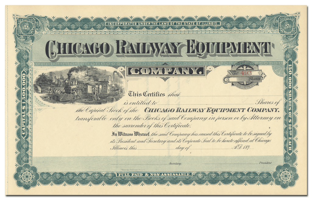 Chicago Railway Equipment Company Stock Certificate