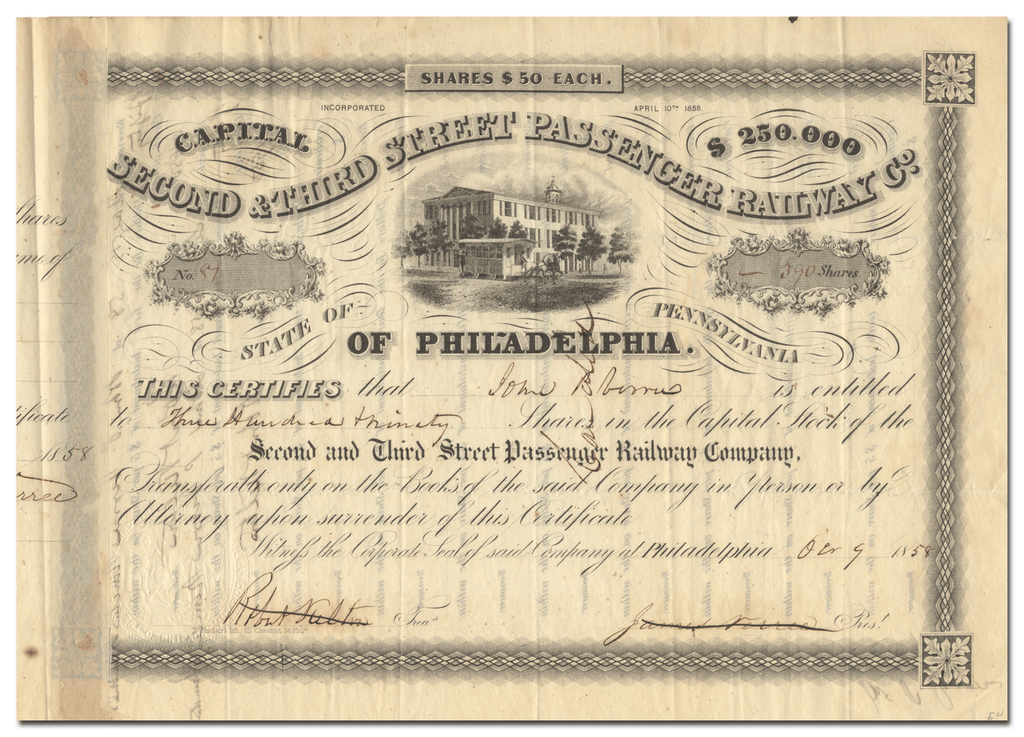 Second & Third Street Passenger Railway Company Stock Certificate