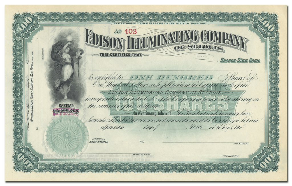 Edison Illuminating Company of St. Louis Stock Certificate