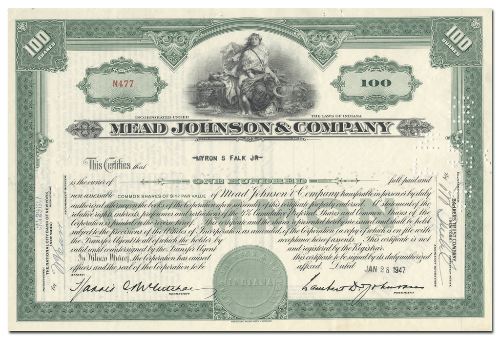 Mead Johnson & Company Stock Certificate
