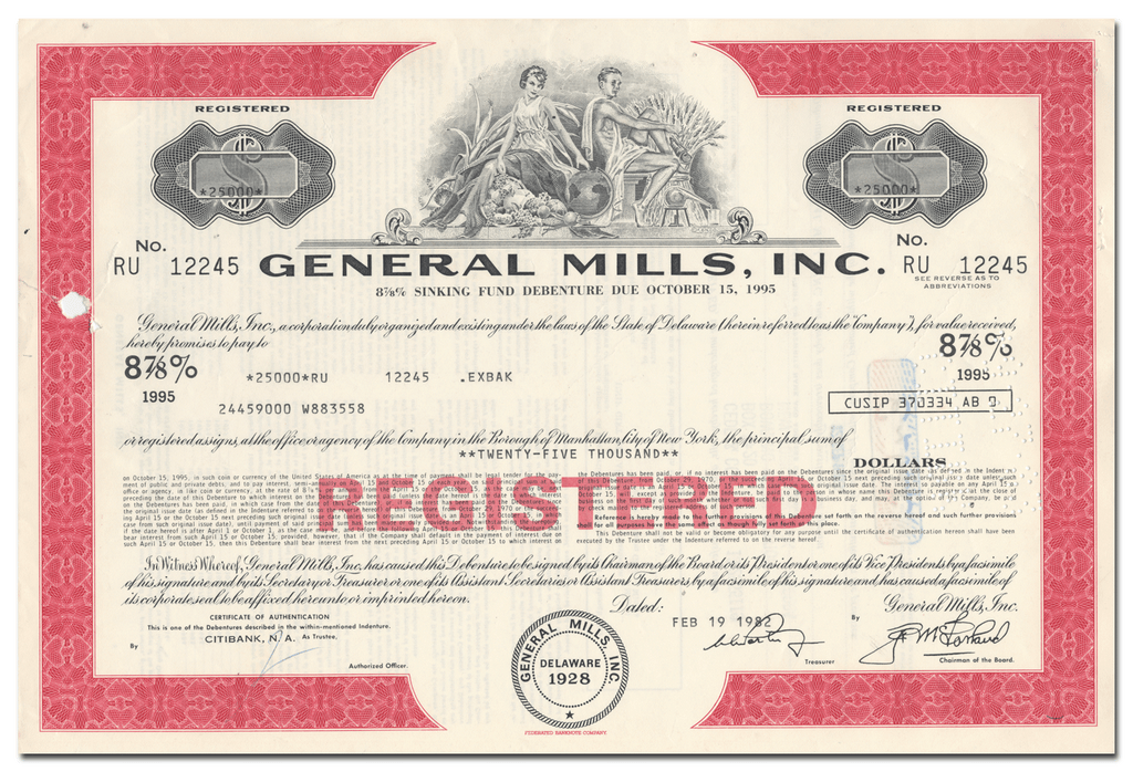 General Mills, Inc. Bond Certificate