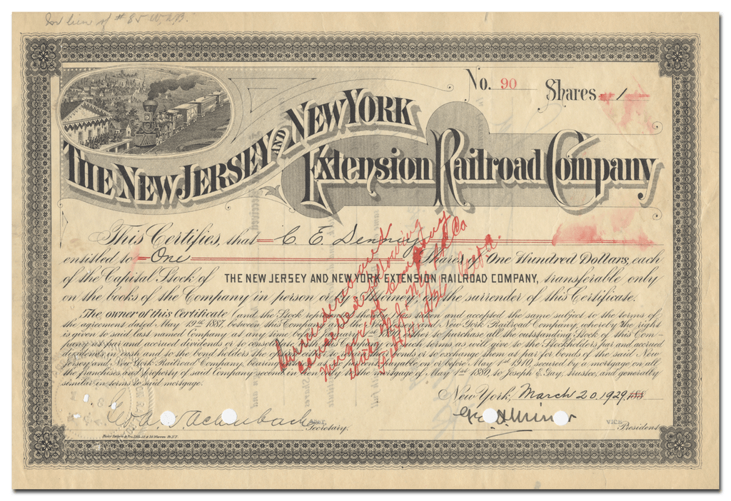 New Jersey and New York Extension Railroad Company Stock Certificate