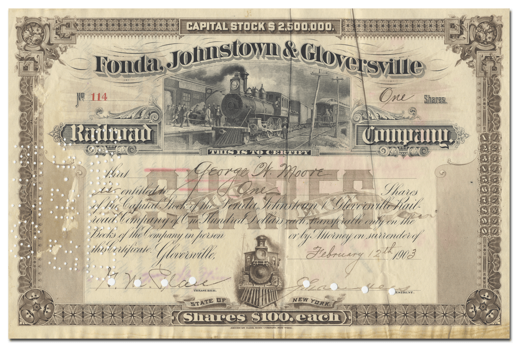 Fonda, Johnstown & Gloversville Railroad Company Stock Certificate