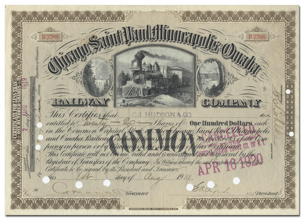 Chicago, Saint Paul, Minneapolis and Omaha Railway Company Stock Certificate