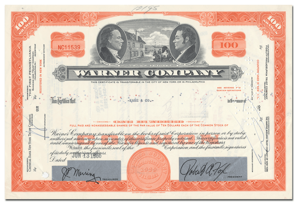 Warner Company Stock Certificate