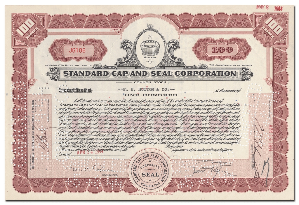 Standard Cap and Seal Corporation Stock Certificate