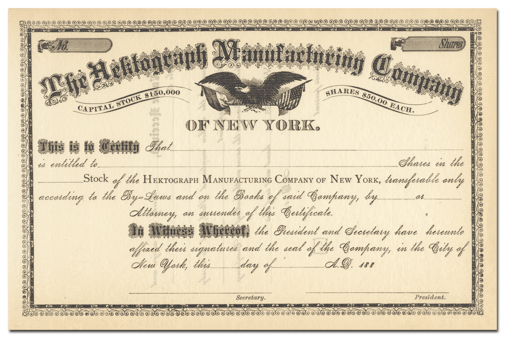 Hektograph Manufacturing Company Stock Certificate