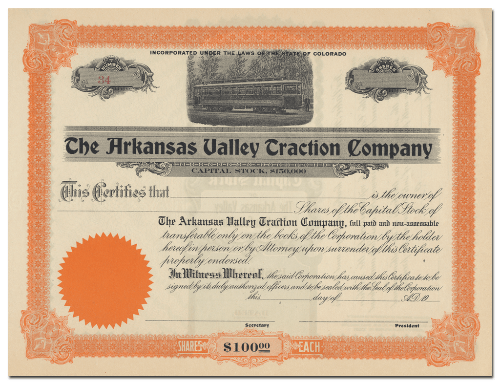 Arkansas Valley Traction Company Stock Certificate