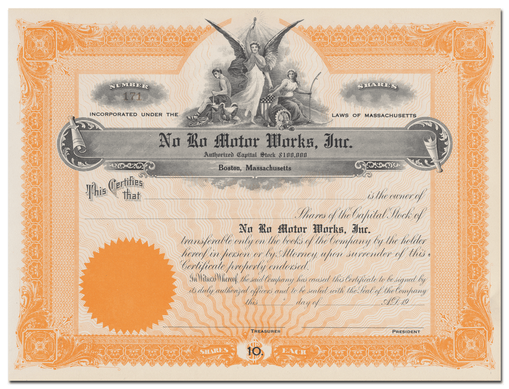 No Ro Motor Works, Inc. Stock Certificate
