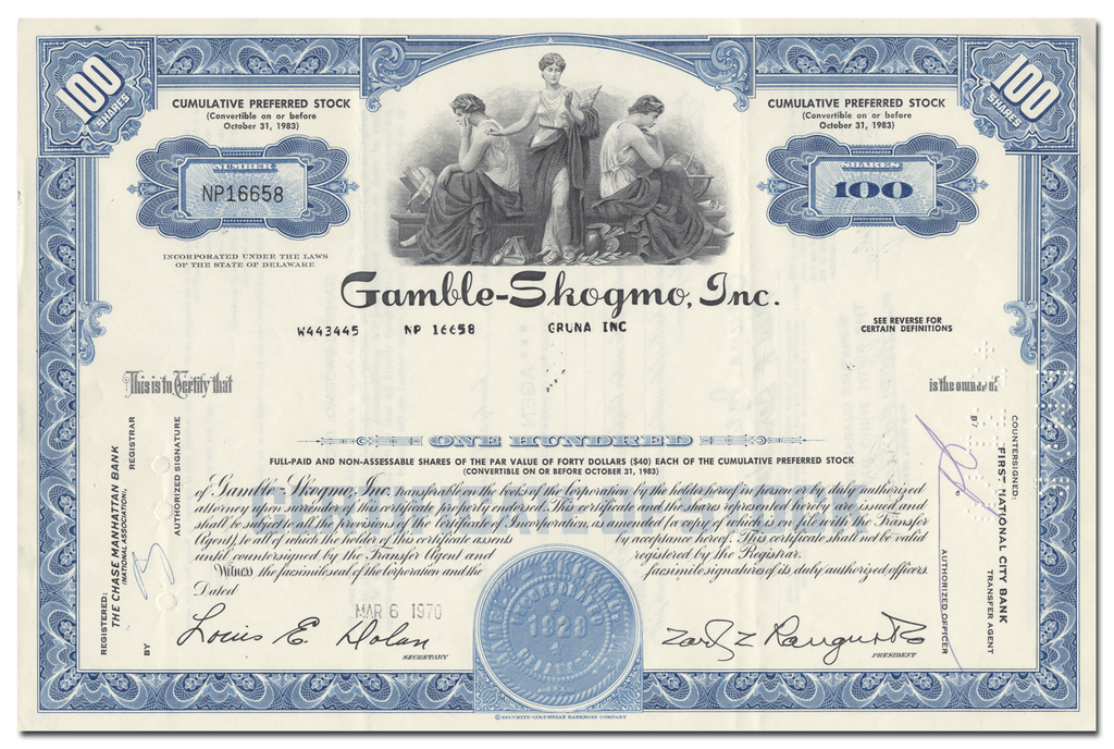 Gamble-Skogmo, Inc. Stock Certificate