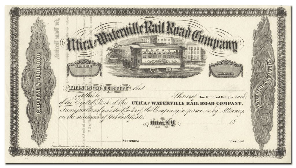 Utica and Waterville Rail Road Company Stock Certificate