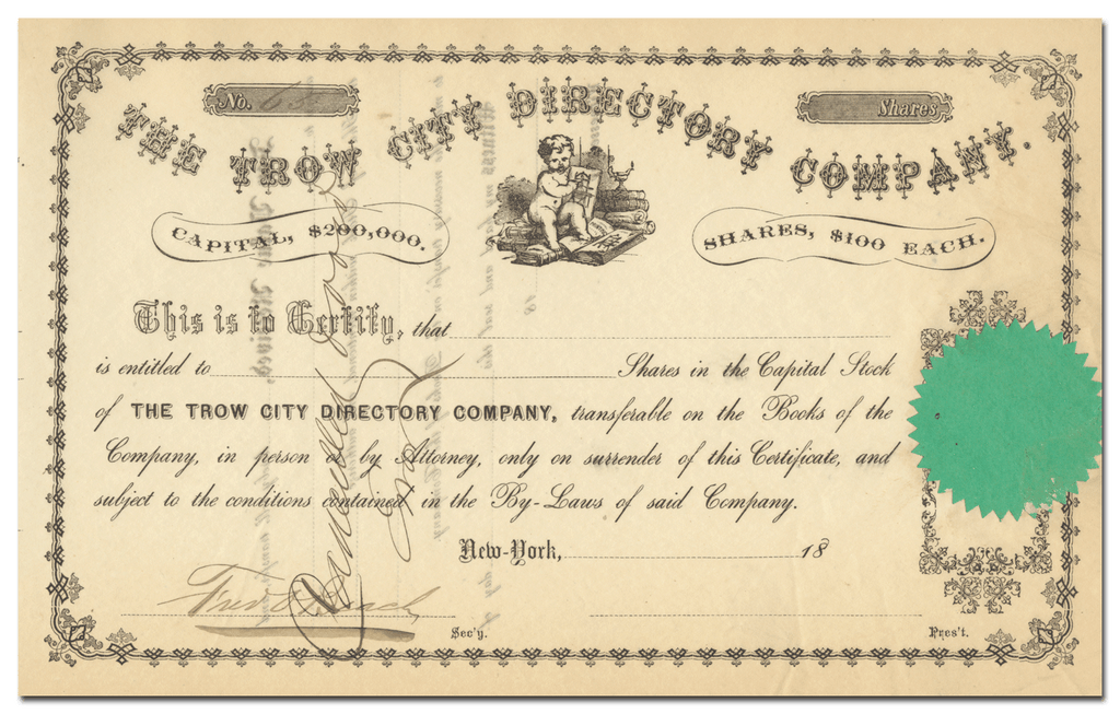 Trow City Directory Company Stock Certificate