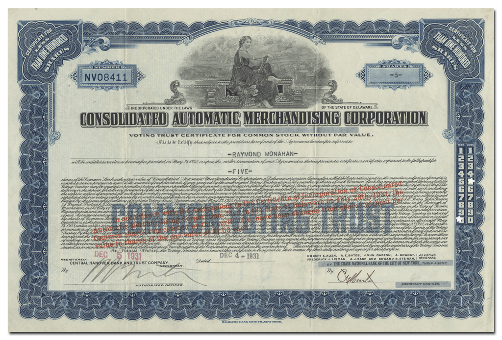 Consolidated Automatic Merchandising Corporation Stock Certificate