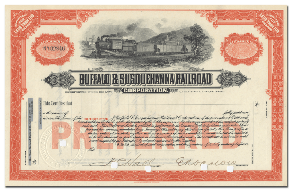 Buffalo & Susquehanna Railroad Corporation Stock Certificate