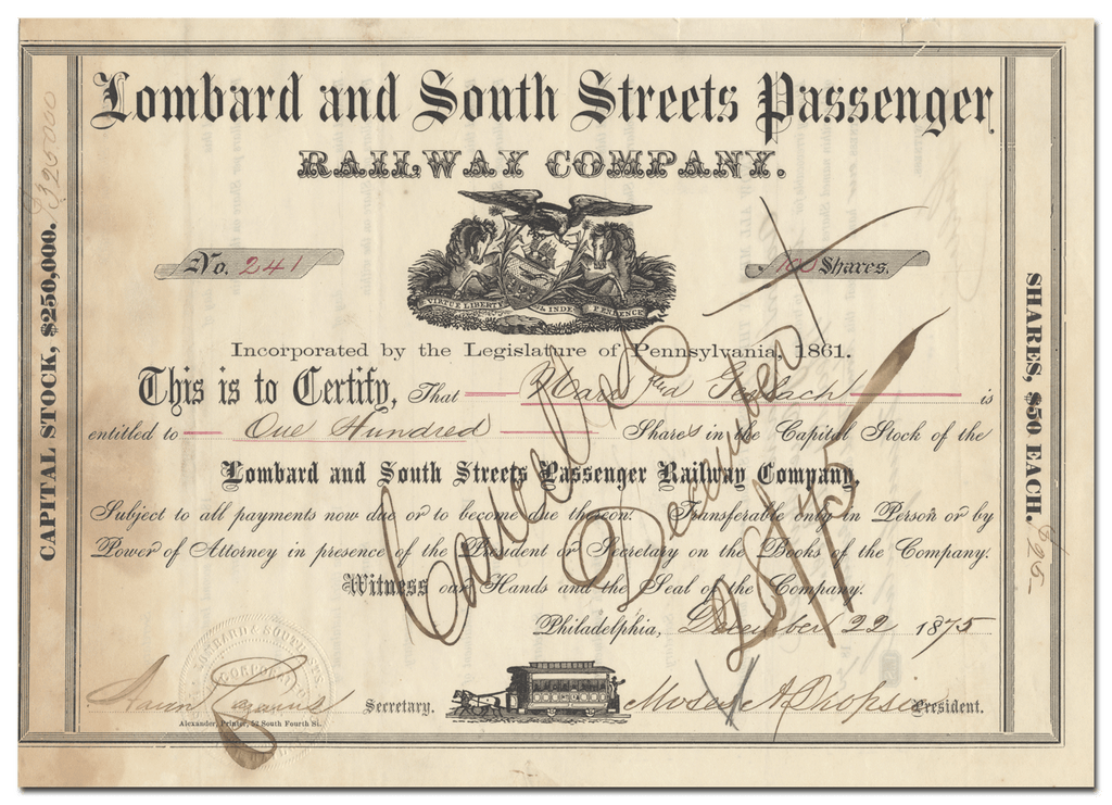 Lombard and South Streets Passenger Railway Company Stock Certificate