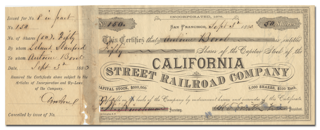 California Street Railroad Company Stock Certificate