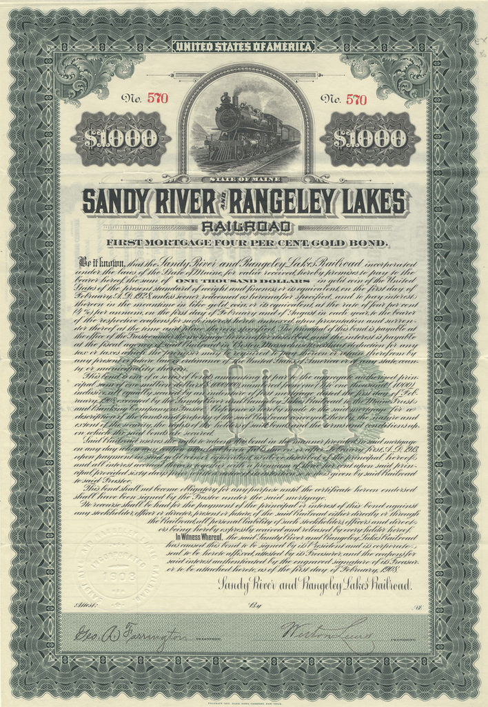 Sandy River and Rangeley Lakes Railroad Company Bond Certificate
