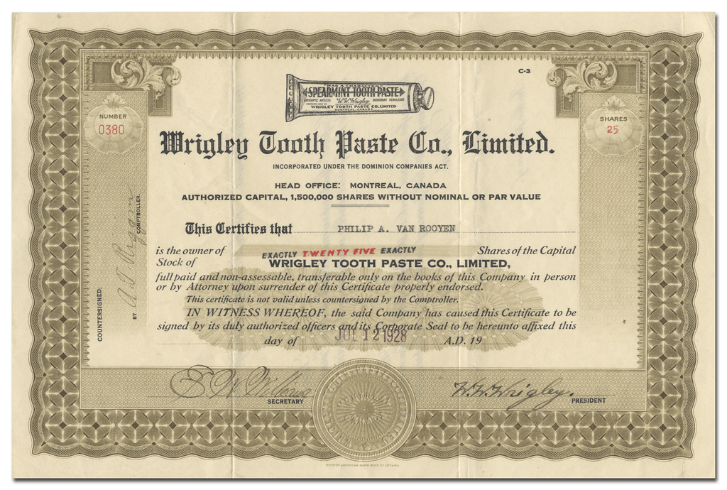 Wrigley Tooth Paste Co., Limited Stock Certificate Signed by W. W. Wrigley