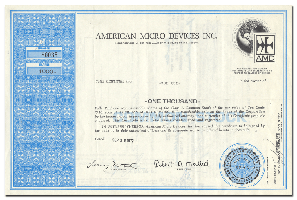 American Micro Devices, Inc. Stock Certificate