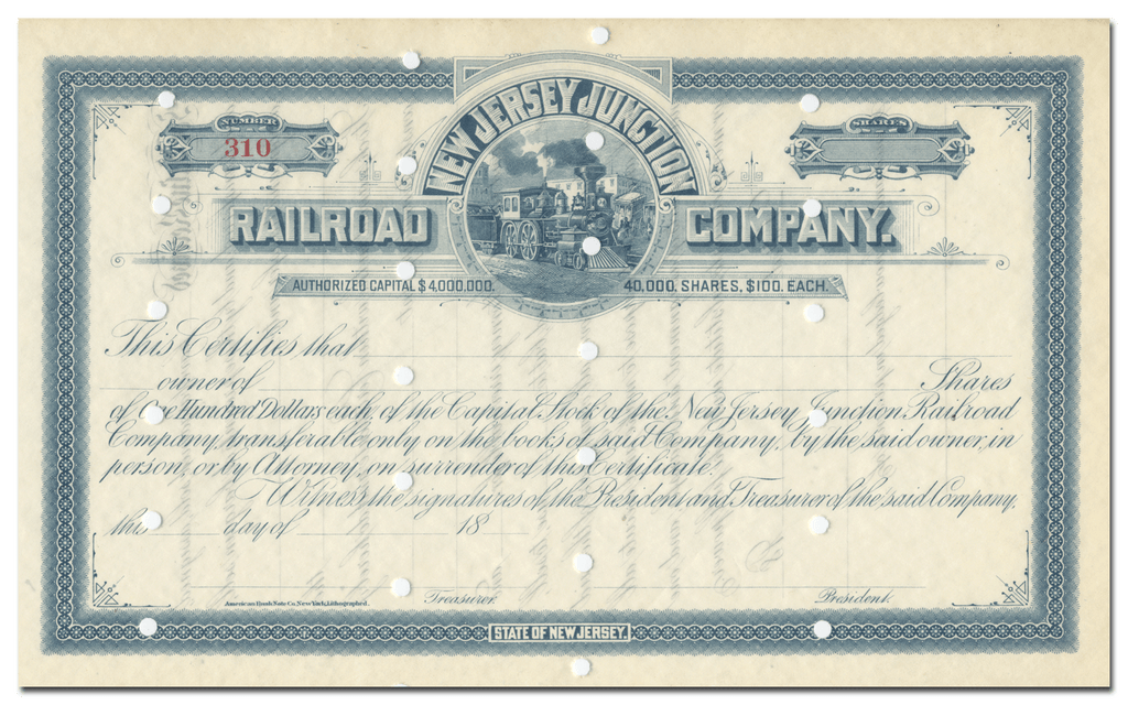 New Jersey Junction Railroad Company Stock Certificate