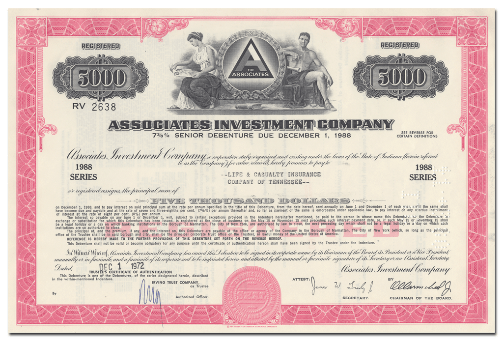 Associates Investment Company Bond Certificate