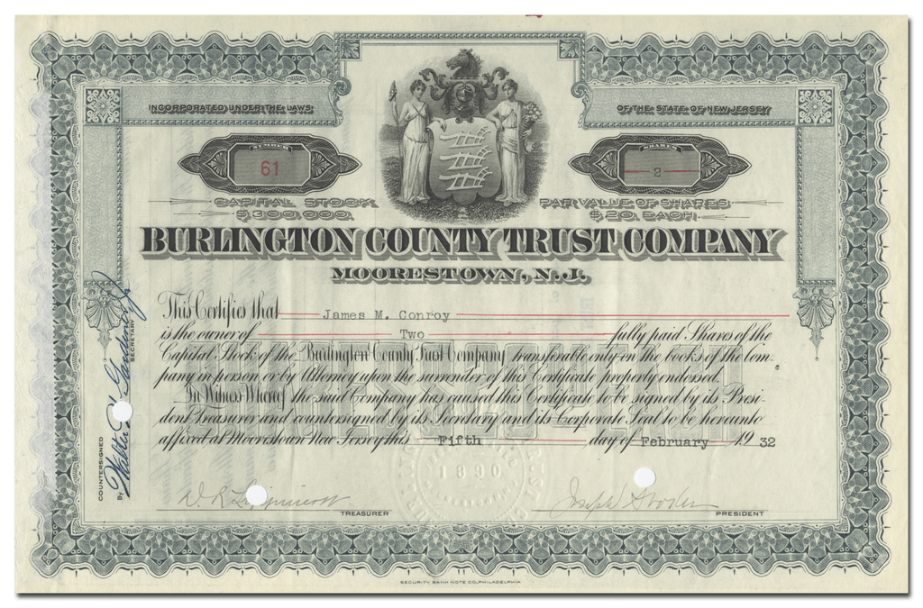 Burlington County Trust Company Stock Certificate