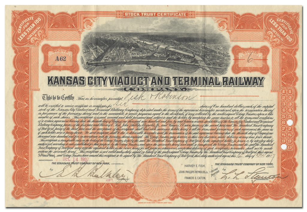 Kansas City Viaduct and Terminal Railway Company Stock Certificate