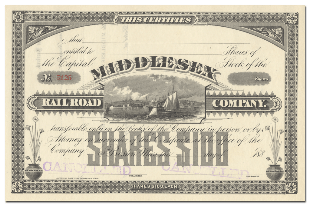 Middlesex Railroad Company Stock Certificate