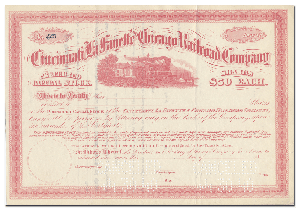 Cincinnati, Lafayette and Chicago Railroad Company Stock Certificate