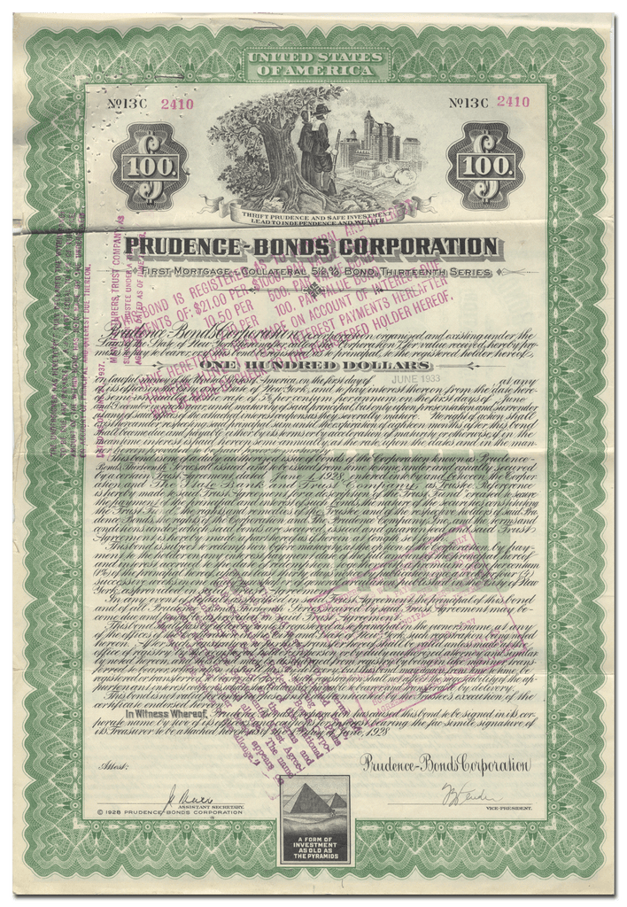 Prudence-Bonds Corporation Bond Certificate