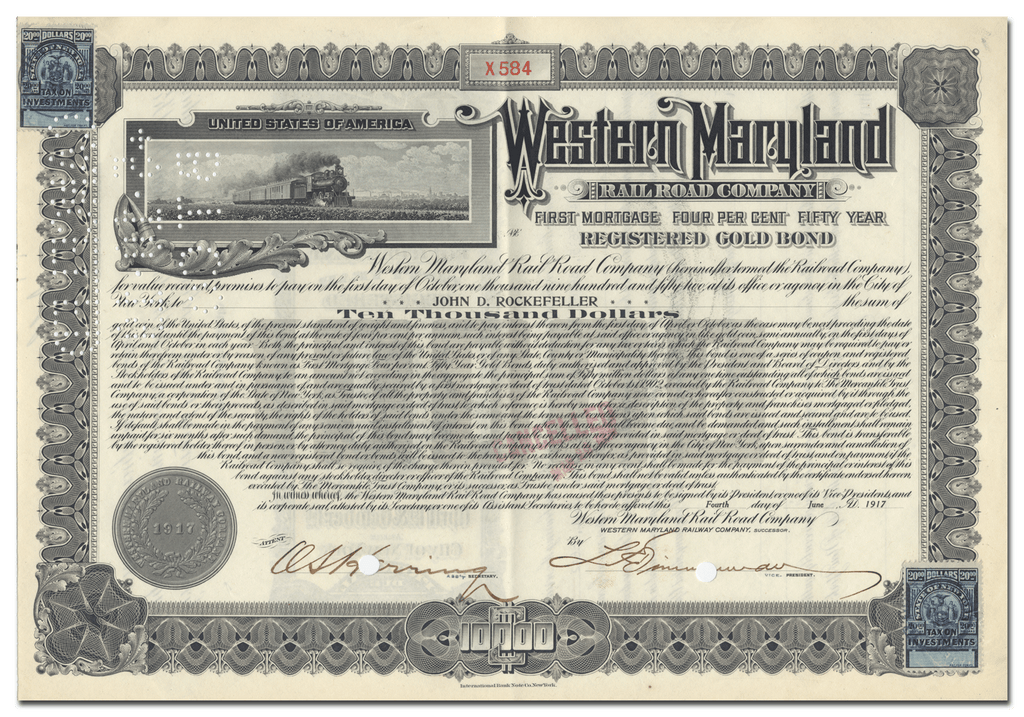 Western Maryland Railroad Company Bond Issued to John D. Rockefeller