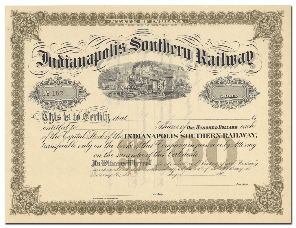 Indianapolis Southern Railway Stock Certificate