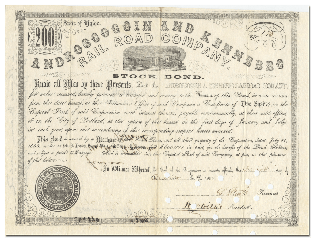 Androscoggin and Kennebec Rail Road Company Bond Certificate