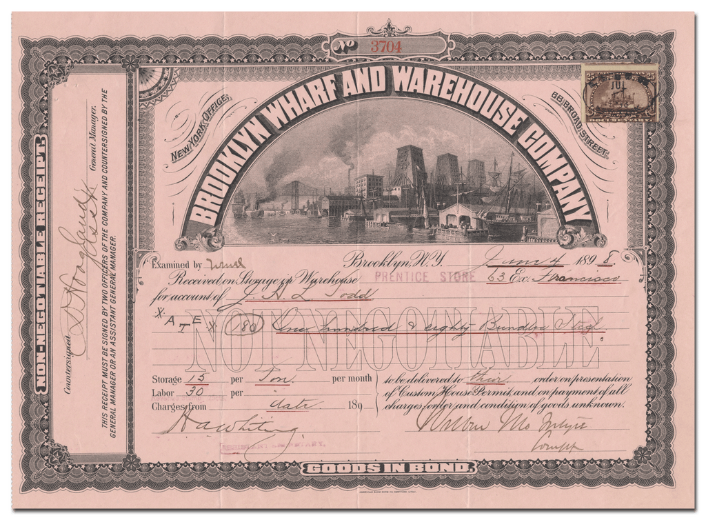 Brooklyn Wharf and Warehouse Company Stock Certificate