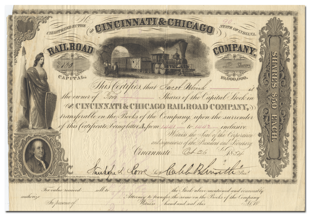 Cincinnati & Chicago Rail Road Company Stock Certificate Signed by Caleb Blood Smith