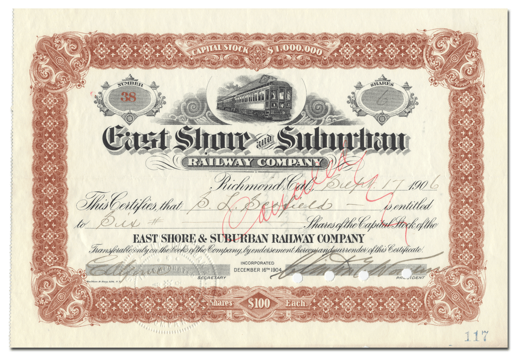 East Shore and Suburban Railway Company Stock Certificate