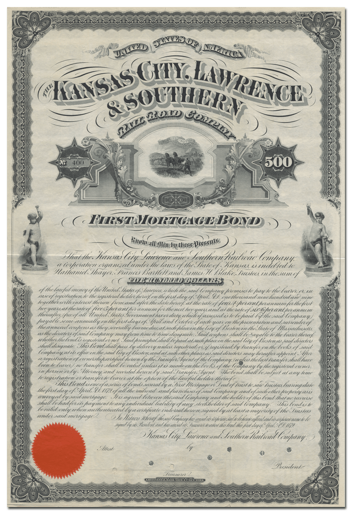Kansas City, Lawrence & Southern Rail Road Company Bond Certificate