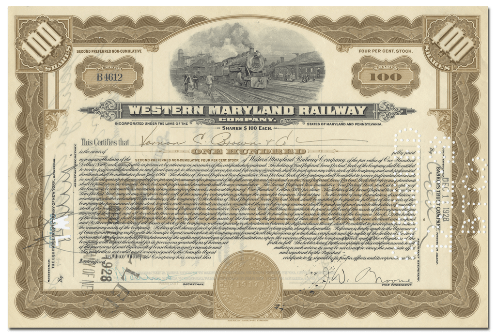 Western Maryland Railway Company Stock Certificate