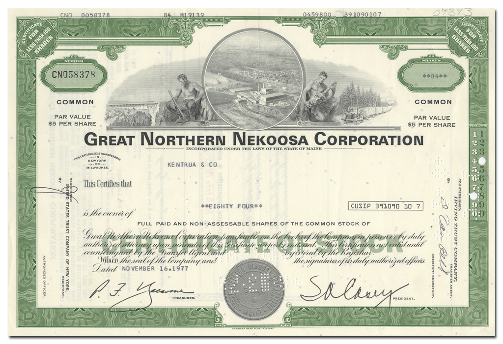 Great Northern Nekoosa Corporation Stock Certificate