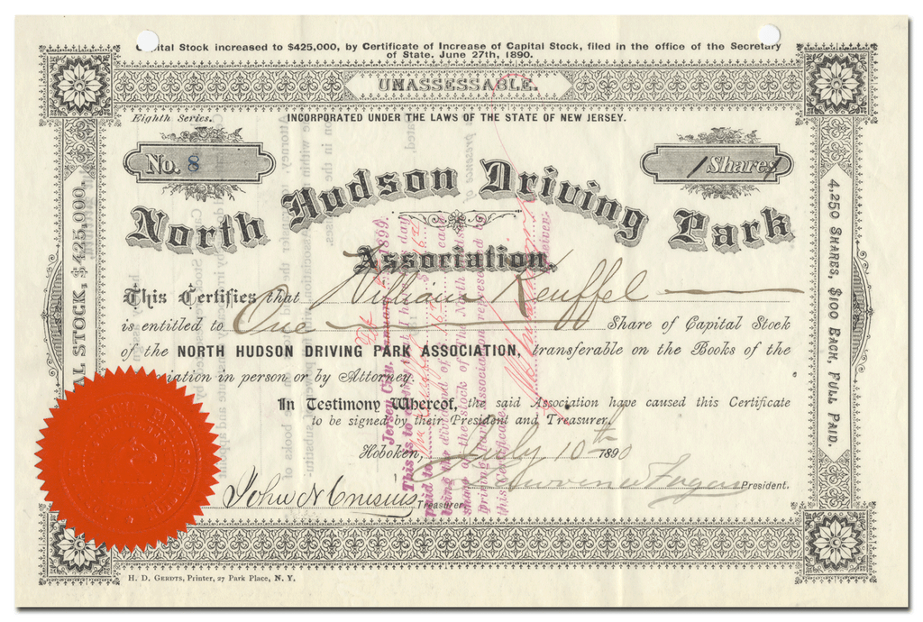 North Hudson Driving Park Association Stock Certificate
