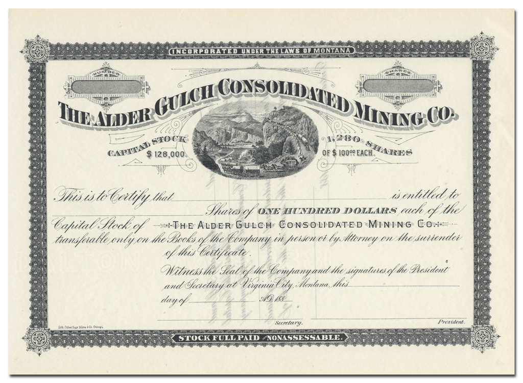 Alder Gulch Consolidated Mining Co. Stock Certificate
