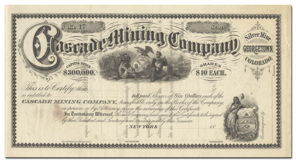 Cascade Mining Company Stock Certificate