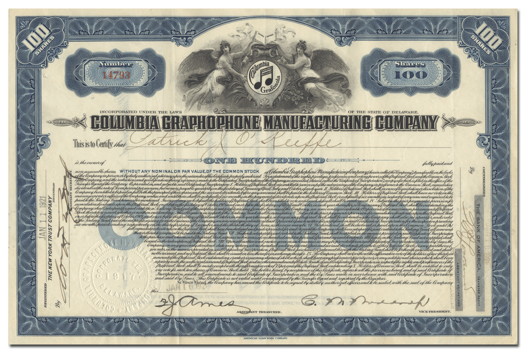 Columbia Graphophone Manufacturing Company Stock Certificate