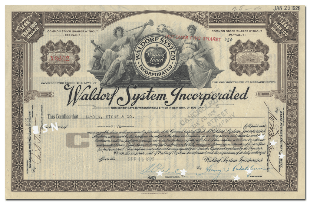 Waldorf System Incorporated Stock Certificate