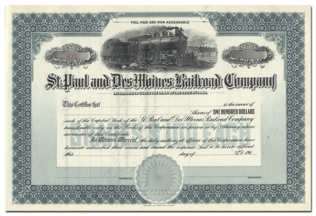 St. Paul and Des Moines Railroad Company Stock Certificate