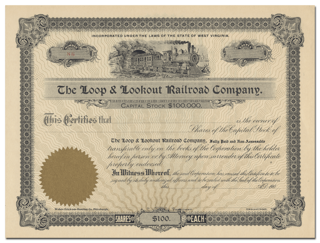 Loop & Lookout Railroad Company Stock Certificate